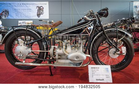 STUTTGART GERMANY - MARCH 17 2016: Sports motorcycle BMW R 47 1928. Europe's greatest classic car exhibition