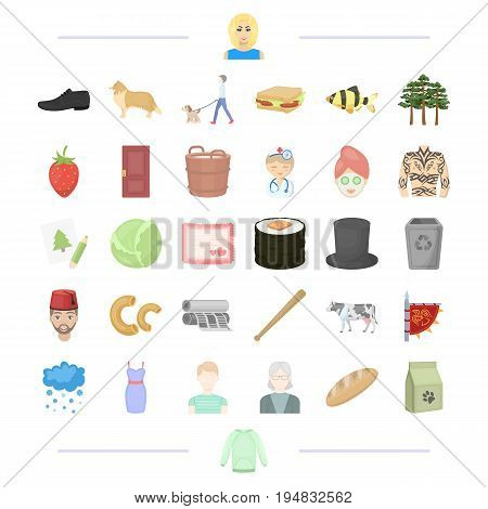 weather, garbage, animal and other  icon in cartoon style.Viking, appearance, vegetable, travel icons in set collection.