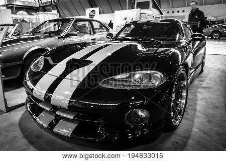STUTTGART GERMANY - MARCH 17 2016: Sports car Dodge Viper GTS 1999. Black and white. Europe's greatest classic car exhibition