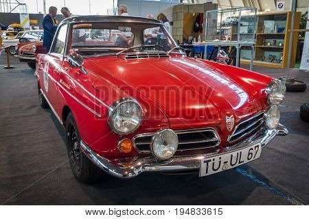 STUTTGART GERMANY - MARCH 17 2016: Sports car NSU Spider Rally (498 cc Single rotor Wankel) 1967. Europe's greatest classic car exhibition