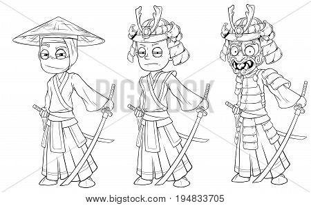 Cartoon asian ninja samurai with sword black and white character vector set for coloring
