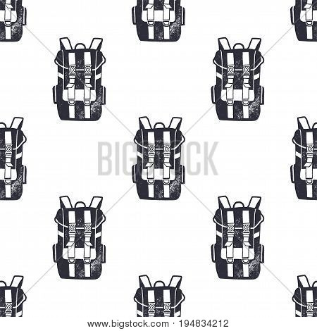 Vintage hand drawn backpacks seamless pattern. Monochrome design for fabric prints, t shirts and others identity. Stock vector.