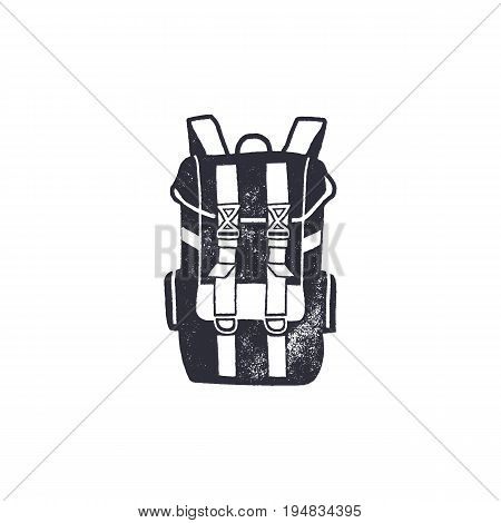 Vintage hand drawn backpack shape in monochrome. Adventure icon, pictogram. Camping hipster style. Stock vector isolated on white background.