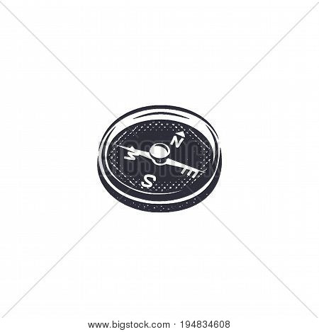 Vintage hand drawn compass shape in monochrome etch style. Adventure engrave icon, letterpress pictogram. Camping hipster survival style. Stock vector isolated on white background.