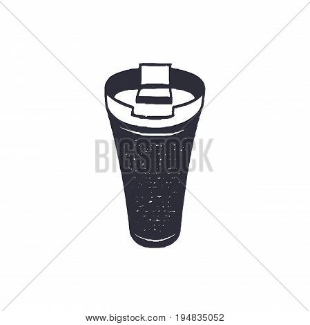 Monochrome thermo cup shape, icon. Vintage hand drawn design. Stock vector isolated on white background.