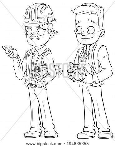 Cartoon engineer and photographer black and white character vector set for coloring