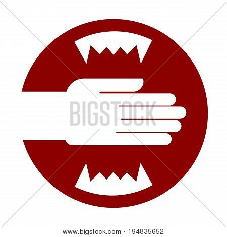 Hand and carnivorous teeth. Jaws Red Warning sign. Do not put your hand in the toothy mouth. Vector illustration. Light background. Eps10.