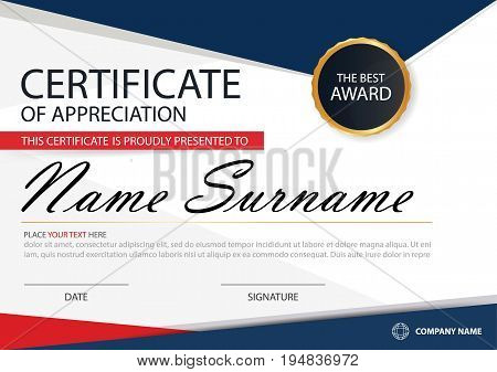 Blue red Elegance horizontal certificate with Vector illustration white frame certificate template with clean and modern pattern presentation