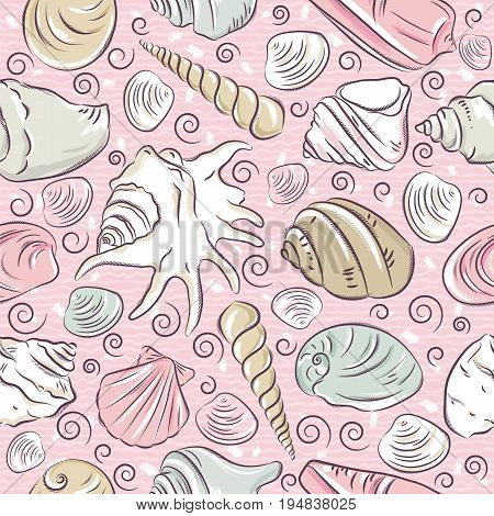 Seamless Patterns with summer symbols shellfish and clams on pink background vector illustration.