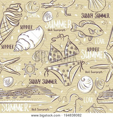 Seamless Patterns with summer symbols Ice cream swimsuit gull fish ship on a beige background vector illustration.