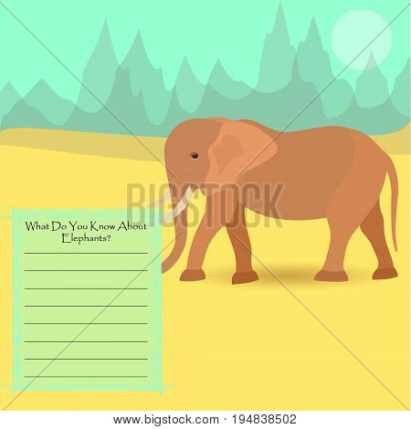 An Elephant Against Symplistic Nature Background and Poster with Space for Interesting Facts about this Animal. Educational Card for Childrens Schooling. Vector EPS 10