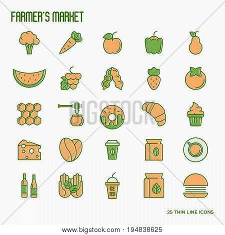 Farmer's market thin line icons set: fruits, coffee, tea, honey, food, olive oil. Vector illustration.