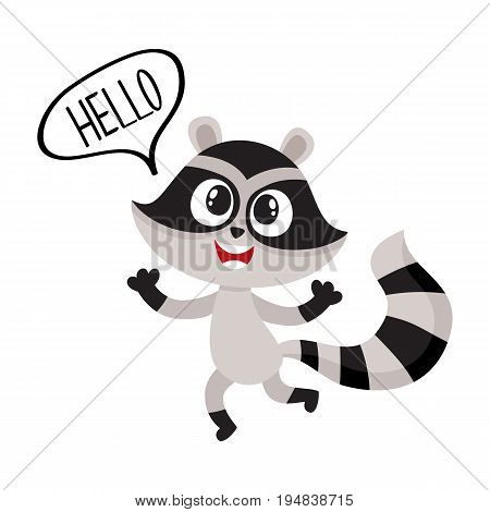 Cute raccoon character showing greeting gesture, saying hello, cartoon vector illustration isolated on white background.