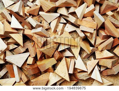 Carpenter tools on wooden table with sawdust. Carpenter workplace top view,