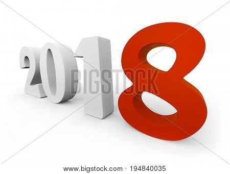 New 2018 year white figures with red 8 isolated on white background. 3D rendering.
