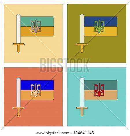 assembly of flat icons Ukrainian flag national