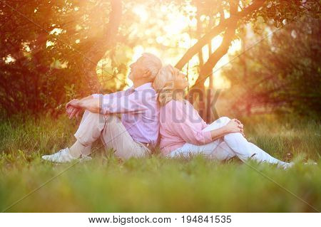 Portrait of happy senior couple resting in autumnal park