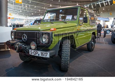 STUTTGART GERMANY - MARCH 18 2016: Mid-size luxury SUV Mercedes-Benz 240 GD Convertible 1979. Europe's greatest classic car exhibition