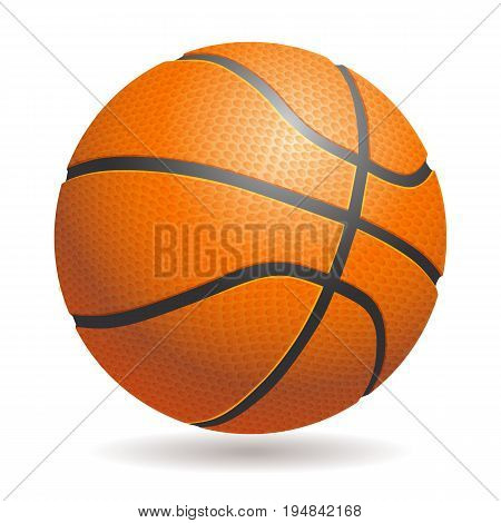 Vector 3d basketball isolated ball on white background. Realistic style. Orange and black, classic.