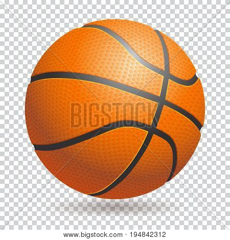 Vector 3d basketball isolated ball on transparent background. Realistic style. Orange and black, classic.