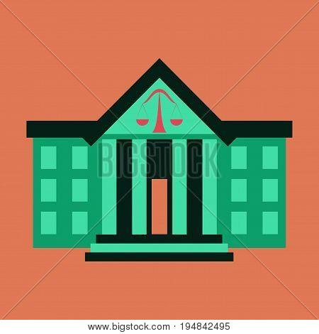 flat icon on stylish background courthouse financial