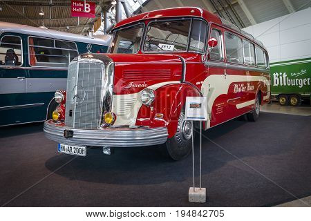STUTTGART GERMANY - MARCH 18 2016: Tourist bus Mercedes-Benz O3500 1950. Europe's greatest classic car exhibition