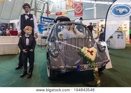 STUTTGART GERMAN - MARCH 18 2016: Vintage microcar Heinkel Trojan 200 1962. Europe's greatest classic car exhibition