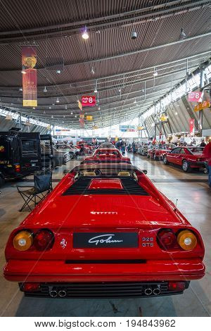 STUTTGART GERMANY - MARCH 18 2016: Sports car Ferrari 328 GTS (Type F106) 1986. Rear view. Europe's greatest classic car exhibition