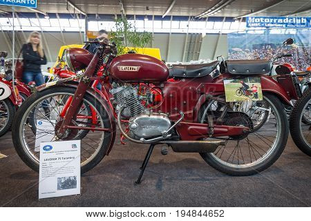 STUTTGART GERMANY - MARCH 18 2016: Sport motorcycle Laverda 75 Tarantina 1952. Europe's greatest classic car exhibition