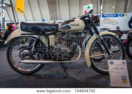 STUTTGART GERMANY - MARCH 18 2016: Motorbike Laverda 75 Sport 1954. Europe's greatest classic car exhibition