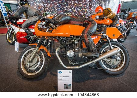 STUTTGART GERMANY - MARCH 18 2016: Sport motorcycle Laverda 750 GTC 1971. Europe's greatest classic car exhibition