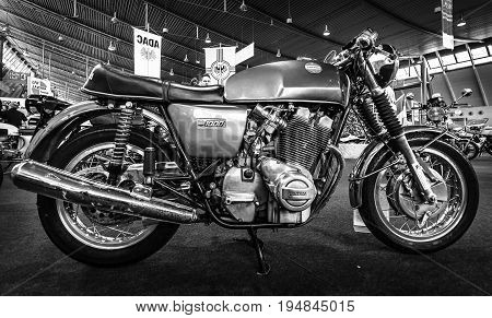 STUTTGART GERMANY - MARCH 18 2016: The serial model motorcycle Laverda 1000/1 1972. Black and white. Europe's greatest classic car exhibition