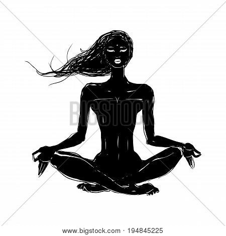 Yoga, Hand drawn vector illustration. Meditation in lotus pose. Padmasana silhouette of woman.