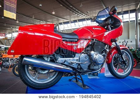 STUTTGART GERMANY - MARCH 18 2016: Motorcycle Laverda 1000 RGS 1981. Europe's greatest classic car exhibition
