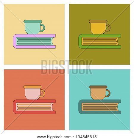 assembly of flat icons book coffee cup