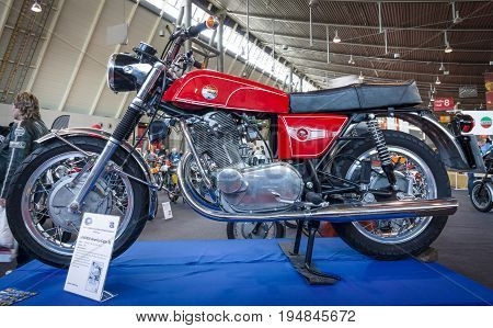 STUTTGART GERMANY - MARCH 18 2016: Motorcycle Laverda American Eagle SS 1969. Europe's greatest classic car exhibition