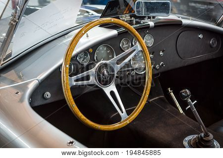 STUTTGART GERMANY - MARCH 18 2016: Cabin of roadster Shelby AC Cobra 1966. Europe's greatest classic car exhibition