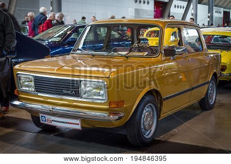 STUTTGART GERMANY - MARCH 18 2016: Small car Simca 1000 1978. Europe's greatest classic car exhibition