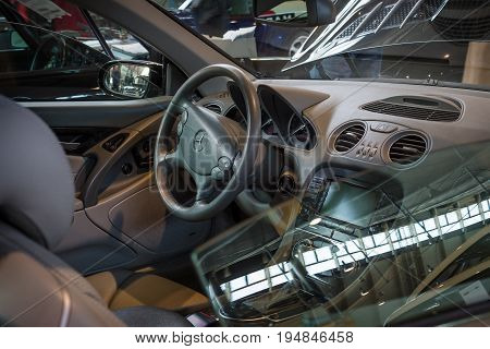 STUTTGART GERMANY - MARCH 18 2016: Cabin of grand tourer car Mercedes-Benz SL AMG 65 (R230) 2009. Europe's greatest classic car exhibition