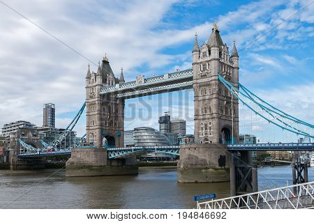 Tower Bridge crossing the River Thames become a symbol of London