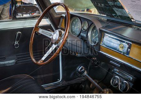 STUTTGART GERMANY - MARCH 18 2016: Cabin of compact executive car Alfa Romeo Giulia Super 1.3 1972. Europe's greatest classic car exhibition