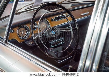 STUTTGART GERMANY - MARCH 18 2016: Cabin of vintage car BMW 2000 New Class 1967. Europe's greatest classic car exhibition