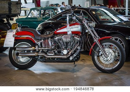 STUTTGART GERMANY - MARCH 18 2016: Motorbike Harley-Davidson Softail Deuce Custom 2003. Europe's greatest classic car exhibition