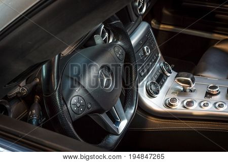 STUTTGART GERMANY - MARCH 18 2016: Cabin of supercar Mercedes-Benz SLS AMG (R197) 2012. Europe's greatest classic car exhibition