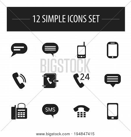 Set Of 12 Editable Gadget Icons. Includes Symbols Such As Message, Address Notebook, Radio Talkie And More. Can Be Used For Web, Mobile, UI And Infographic Design.