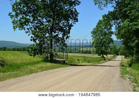 Rural country road on the hills of upstate New York