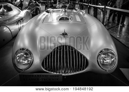 STUTTGART GERMANY - MARCH 18 2016: The racing car Veritas RS 1949. Black and white. Europe's greatest classic car exhibition