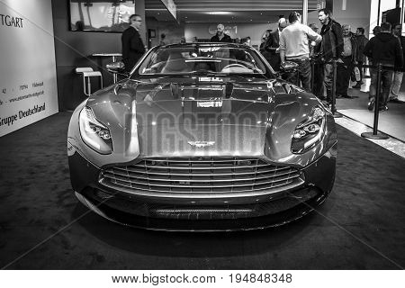 STUTTGART GERMANY - MARCH 18 2016: Grand tourer coupe Aston Martin DB10 2016. Black and white. Europe's greatest classic car exhibition
