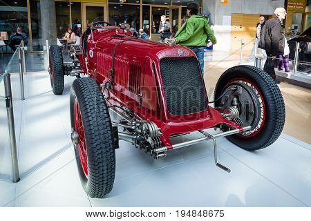 STUTTGART GERMANY - MARCH 18 2016: Race car Maserati 8CM Monoposto Grand Prix 1933. Europe's greatest classic car exhibition