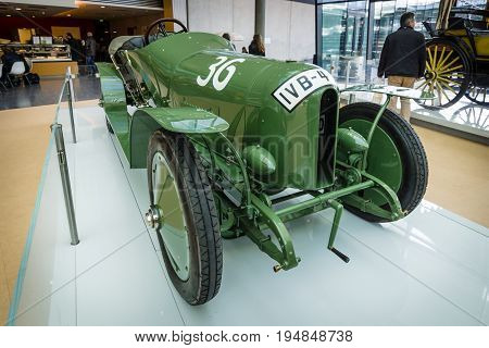 STUTTGART GERMANY - MARCH 18 2016: Race car Blitzen Benz 60 PS 1910. Europe's greatest classic car exhibition